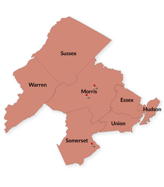 North Jersey counties/branch locations