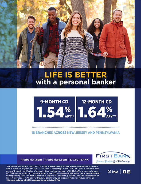 Life is better with personal banker ad, 9 & 12 month CD 1.54% & 1.64%, diverse people smiling & walking