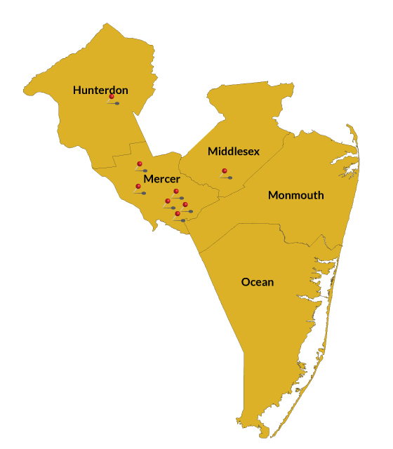 Central NJ counties/branch locations