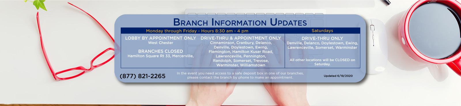COVID-19 branch information update